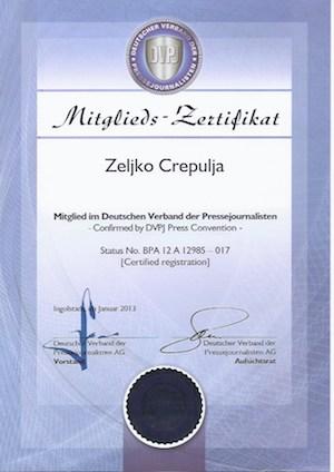 Mitglieds-Zertifikat Deutscher Verband der Pressejournalisten Zeljko Crepulja
