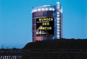 """Montage """"Wunder der Natur"""" im Gasometer Oberhausen Plakat: Uwe Loesch unter Verwendung des Fotos """"Monkey"""" von Tim Flach"""